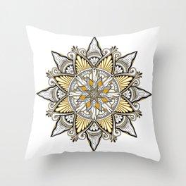 Mustard Mandala Throw Pillow