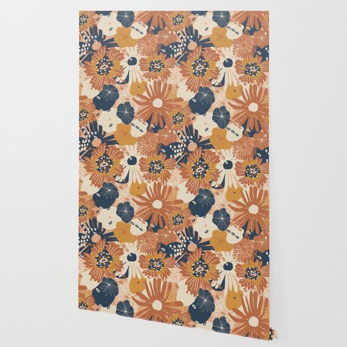 Autumn Fall Bloom Warm Orange Flowers Bold Cozy Floral Pattern Wallpaper