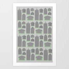 Birdcages (Gray) Art Print