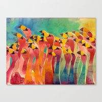flamingos Canvas Prints featuring Flamingos by takmaj
