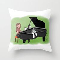 piano Throw Pillows featuring PIANO by Andrea Lacuesta Art