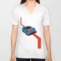 porsche V-neck T-shirts featuring Gulf Porsche by SABIRO DESIGN