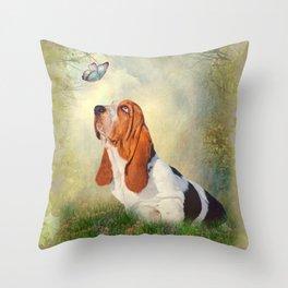 Butterfly Basset Throw Pillow