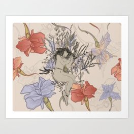 Concord flowers with restless hands. By:Ash Kinslow Art Print
