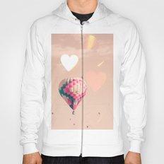 Hot air balloon nursery and heart bokeh on pale pink Hoody