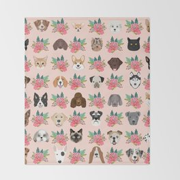 Dogs and cat breeds pet pattern cute faces corgi boston terrier husky airedale Throw Blanket