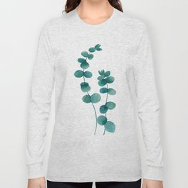 green eucalyptus watercolor Long Sleeve T-shirt