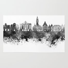 Lille skyline in black watercolor Rug