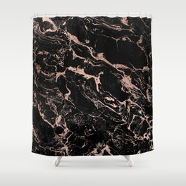 Modern girly faux rose gold foil black marble Shower Curtain