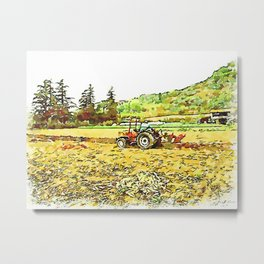 Hortus Conclusus: tractor plows the field Metal Print