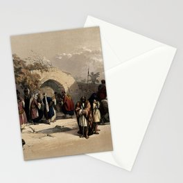 Vintage Print - The Holy Land, Vol 1 (1842) - Fountain of the Virgin, Nazareth Stationery Cards