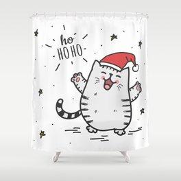 Ho Ho Ho Christmas Cat Shower Curtain
