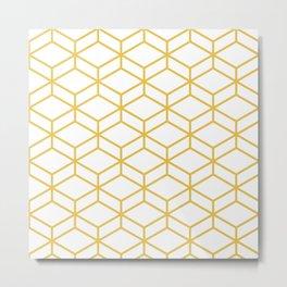 Geometric Honeycomb Lattice in Mustard Yellow and White. Modern Clean Minimalist Metal Print