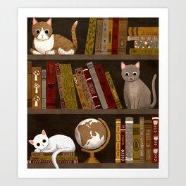cat bookshelf Art Print
