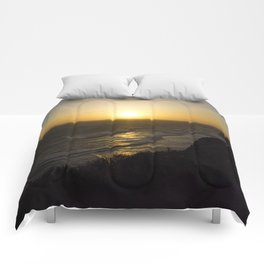 Cliff Top Sunset Comforters