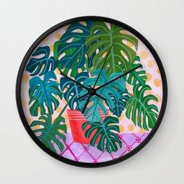 Monstera Houseplant Painting Wall Clock