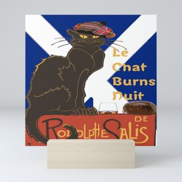 Le Chat Burns Nuit Haggis Dram Scottish Saltire Mini Art Print