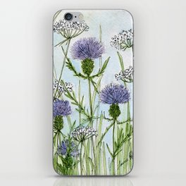 Thistle White Lace Watercolor iPhone Skin