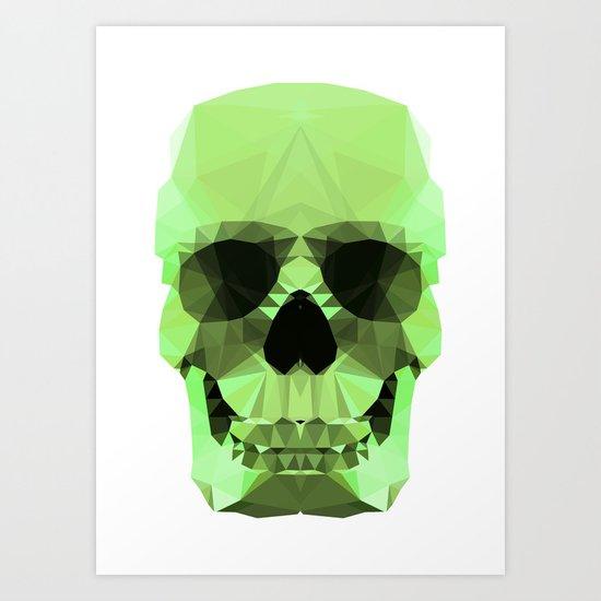 Polygon Heroes - Emerald Skull Art Print