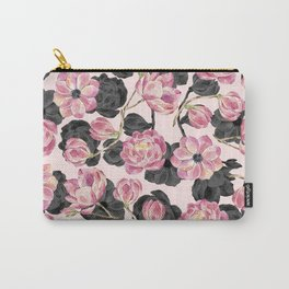 Girly Blush Pink and Black Watercolor Flowers Carry-All Pouch