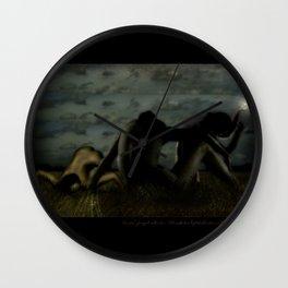 Three women in a field Wall Clock