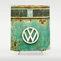 shipping Shower Curtains featuring VW Retro by Alice Gosling