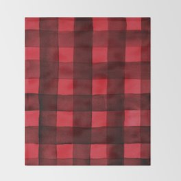 Buffalo Plaid Watercolor in Red Throw Blanket