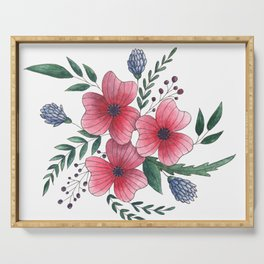 Pink beautiful flowers Serving Tray