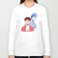 dad Long Sleeve T-shirts featuring Red Dad Blue Dad by Saintly