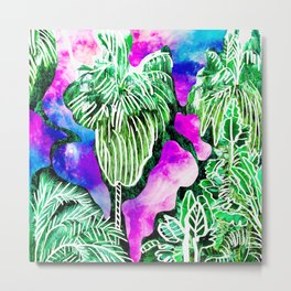 Space Tropic | Modern green tropical palm tree forest photography illustration nebula color block Metal Print