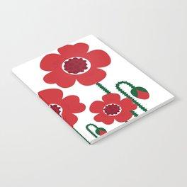 Red poppy designers flowers Notebook