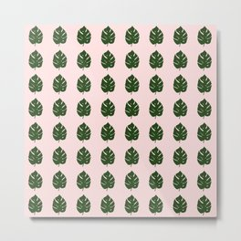 pink monstera leafs Metal Print