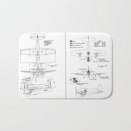 Douglas A-1H/J Skyraider Schematic Bath Mat