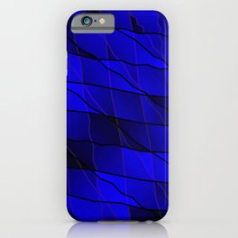 Mirrored gradient shards of curved blue intersecting ribbons and horizontal lines. iPhone Case