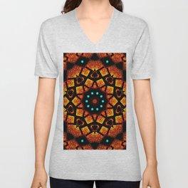 Bright Red Orange Mosaic Kaleidoscope Mandala Unisex V-Neck
