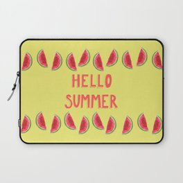 Hello Summer Watercolor Handlettered Painting - Yellow Background Laptop Sleeve
