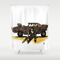mad max Shower Curtains featuring MAD MAX by Gregory Casares