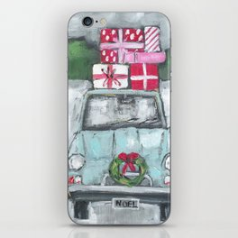 Vintage Car in the Snow painting iPhone Skin