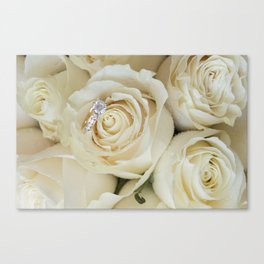 White Roses and White Diamonds Canvas Print