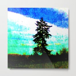 Pacific Northwest Springtime Scenery Oil Painting Metal Print