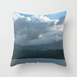 Kauai Hanalei Bay and a Boat Throw Pillow