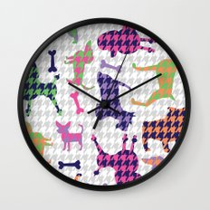 Houndstooth Hounds Wall Clock
