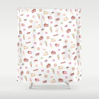 hobbes Shower Curtains featuring Dessert Time is Every Time by jilln