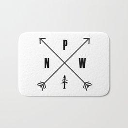 PNW Pacific Northwest Compass - Black on White Minimal Bath Mat
