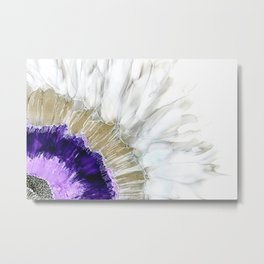 Flora - abstract floral, fluid paint, purple, gold, tan, gray, white, flower Metal Print