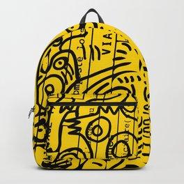 Yellow Street Art Graffiti Train Ticket Backpack
