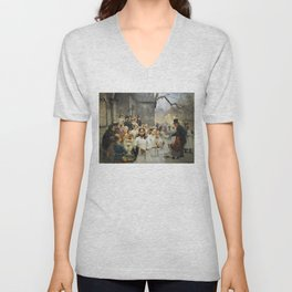 After First Communion by Carl Frithjof Smith (1892) Unisex V-Neck