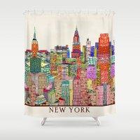 new york skyline Shower Curtains featuring new york city skyline by bri.buckley