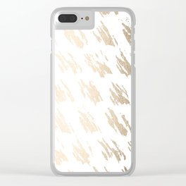 Luxe Gold Brush Polka Splotch on White Clear iPhone Case
