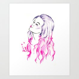 Pink Hair Purple Hair Don't Care Art Print